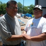 Being greeted George Blanchard Governor of Absentee Shawnee Tribe